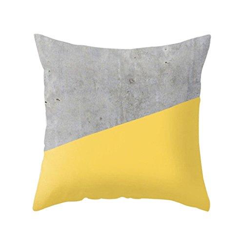pu ran Pineapple Leaf Yellow Pillow Case Sofa Car Waist Throw Cushion Cover Home Decor - 2 Yellow With Grey