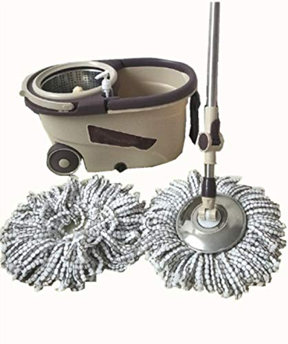Lm mocio rotante lavapavimenti set - acciao inox 360 ° mocio rotante manico estensibile con due teste in microfibra strizzare facile,gray