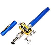 Delicacydex Mini bolígrafo portátil Tipo caña de Pescar telescópica caña de Pescar tamaño de Bolsillo caña de Pesca al Aire Libre Accesorios - Azul