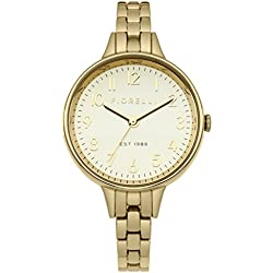 Fiorelli Women's Quartz Watch with Gold Dial Analogue Display and Gold Plated Bracelet FO012GM