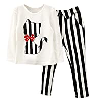 Kids Girls Baby Clothing Child Cat Print Long Sleeve T Shirt + Striped Pants Outfits Costume Christmas Clothes Set Kid Clothes White