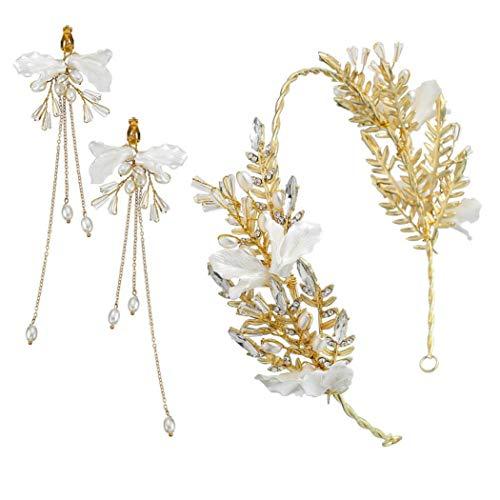 1set Gold-Blatt-Perlen-Kronen-Ohrring-Satz-Braut Tiaras Mit Blumen-Hochzeit Kronen-Perlen-Girlande Haarschmuck Für Die Braut Und Brautjungfer (Tiara Satz Braut)