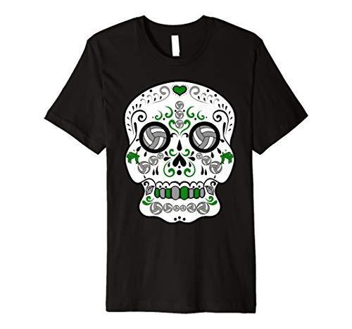 Green and Grey Volleyball Sugar Sports Skull T-Shirt