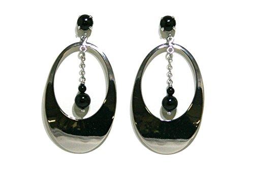 orecchini con elemento ovale lucido colore rodio, castone con perla Swarovski nera e catena pendente con due perle nere Swarovski
