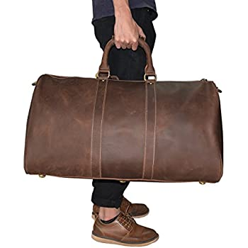 Duffle de voyage en cuir véritable hommes Grand sac de week-end en cuir de vache Overnight Messenger (brown5) quC6dzi