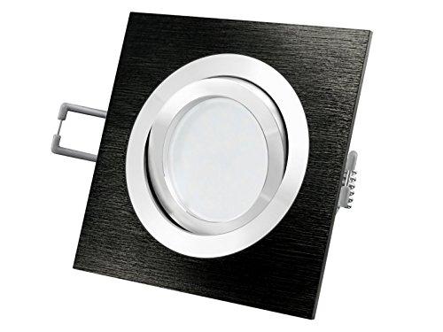 QF-2 LED-Einbau-Strahler schwenkbar, Einbau-Leuchte Aluminium gebürstet schwarz eloxiert, SMD 5W LED Lichtfarbe neutralweiß, GU10 230V [IHRE VORTEILE: einfacher EINBAU, hervorragende LEUCHTKRAFT, LICHTQUALITÄT und VERARBEITUNG] (Chrom Zentrum Gebürstet,)
