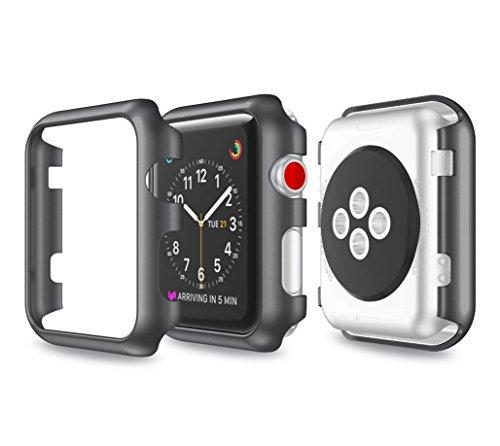samLIKE Ultra-Slim Electroplate PC Schutzhülle für Apple Watch Series 3 38mm (Schwarz)