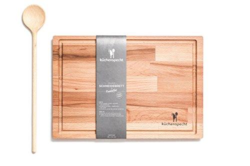 Set Holz (Schneidebrett Holz groß / Frühstücksbrett Buche | Set mit Kochlöffel | Saftrille | antibakteriell und umweltfreundlich aus Europa)