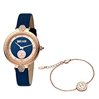 Just Cavalli Blue Dial Leather Analog Watch Bracelet Set For Women