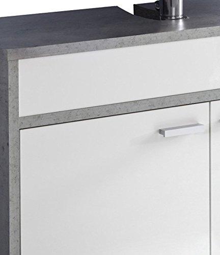 Trendteam Waschbeckenunterschrank hängend, Weiß, Glanz - 4