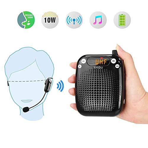 Amplificatore vocale portatile Wireless 10W, SHIDU amplificatore vocale Altoparlante ricaricabile PA con auricolare wireless UHF Microfono per insegnanti, Canto, Guide turistiche, Aula, Allenatore