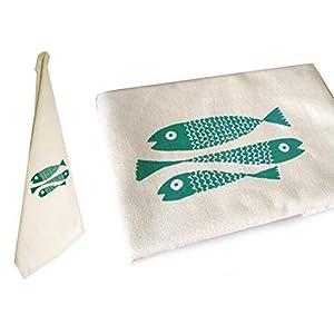 Fische, Bio Geschirrtuch. Mit Handsiebdruck.