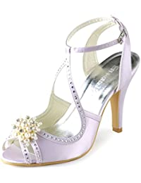 ElegantPark EP11058 Women Peep Toe Pearls Rhinestone Cut outs Satin High Heels Pumps Wedding Sandals Court Shoes