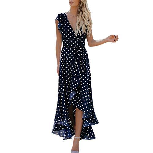 Yvelands Sommerkleider Damen Maxi Kleid Off Shoulder Abendkleid Strandkleid Party Schulter Kleider Schulterfrei Strand Spielanzug Boho (Blau1,L)