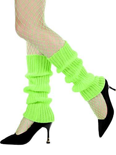 Roller High Kostüm - SATINIOR Damen 80er Jahre Kostüm Kit Netzstrumpfhose und Strick Beinlinge 80er Jahre Party Lieferungen (Leuchtendes Grün)