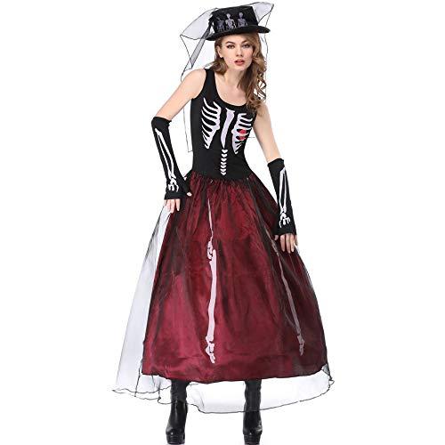Miss Y Halloween Skeleton Ghost Bride Kostüm Cosplay Hexenspiel Drama Dress Up Kostüm,M (Kostüm Für Den Drama)