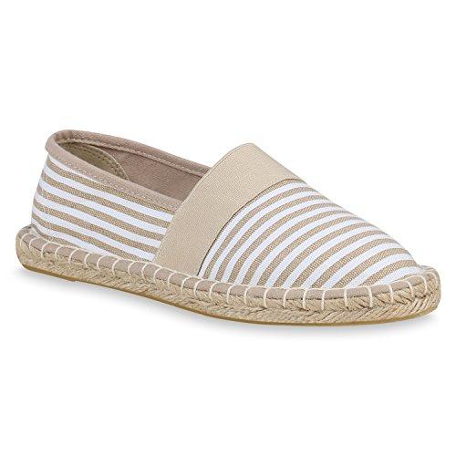 Stiefelparadies Damen Espadrilles Bast Slippers Prints Freizeit Schuhe Slip Ons 157309 Creme Weiss 40 Flandell (Beige Espadrilles)