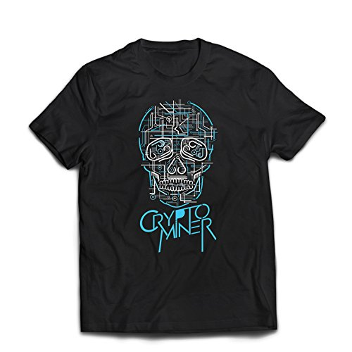 lepni.me Camisetas Hombre Crypto Miner - Cryptocurrency - Bitcoin Ethereum, Blockchain Mining Algorithms (X-Large Negro Multicolor)
