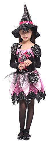 Cloud Kids Hexenkostüm Kinder Mädchen Fasching Kostüm Hexekleid 4-6 Jahre Alt (Vier Jahre Alt Kostüm)