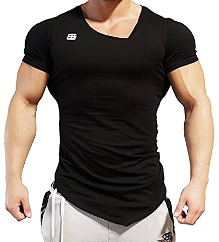 Body Engineers Asymmetric V neck BLACK OUT Gym Workout &