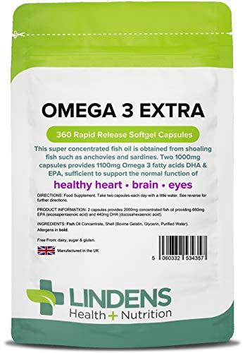 Lindens Capsule di olio di pesce extra con Omega 3 da 1000 mg | 360 Confezione | 1100 mg di acidi grassi DHA ed EPA e Omega 3 per 2 capsule. Favorisce il regolare funzionamento di cuore, cervello e occhi