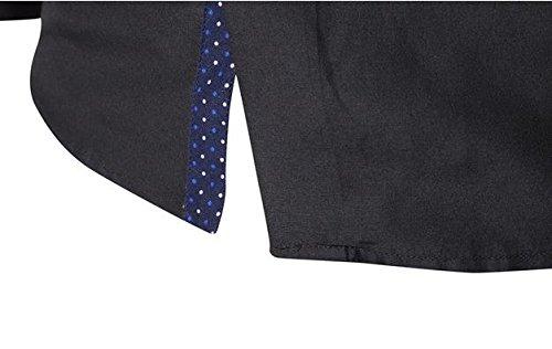 SHUNLIU Hemd Herren Business Freizeit Langarmhemd Schlanke Einfarbig Kragenhemd Schwarz