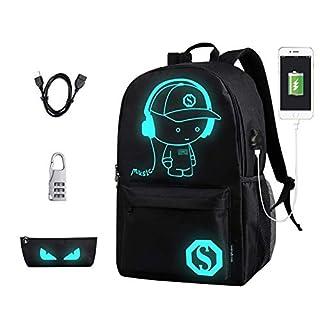 Schultaschen, Anime Leucht Rucksack Canvas Schulter Tagesrucksack Boy Rucksack mit USB-Kabel und Schloss und Bleistift Tasche für Jugendliche Mädchen Jungen (Schwarz)