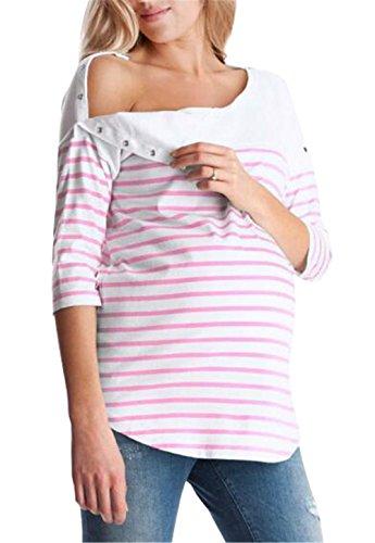 Wenwiuir donna premaman maglietta manica mezza top l'allattamento sciolto t-shirt a righe allattamento casual maternity bluse