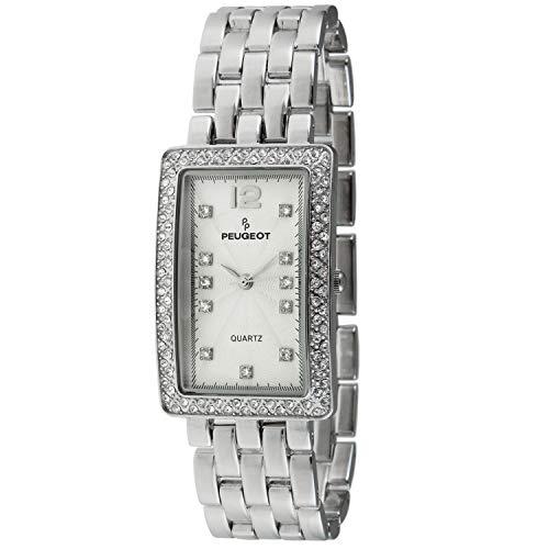 Peugeot Women's Tank Shape Wrist Watch Analog Link Bracelet with Crystal Bezel