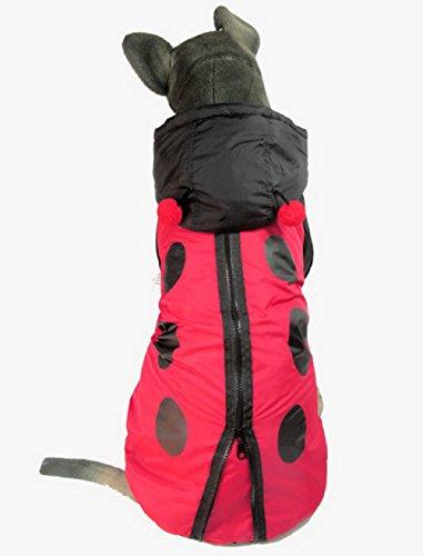 zunea Große Medium Hunde Kostüm Hund Winter Coat Marienkäfer Kostüm mit Kapuze Halloween-Kostüm Dots Print ()