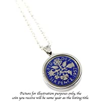 Choice of 8 Colour Add On Engraving Option Year 1950 Hand Painted Enamel Lucky Sixpence Necklace on 18 inches sterling silver chain