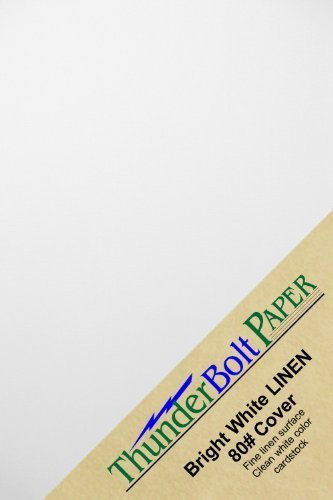 175 Bright White Linen 80# Cover Paper Sheets - 5