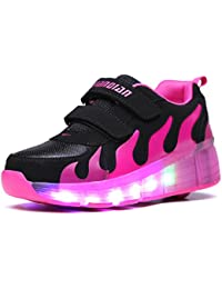 Aizeroth-UK Unisex LED Roller Skate Shoes with Wheel Retractable Technical Skateboarding Outdoor Sport Trainers Gymnastic Running Sneaker for Boys Girls