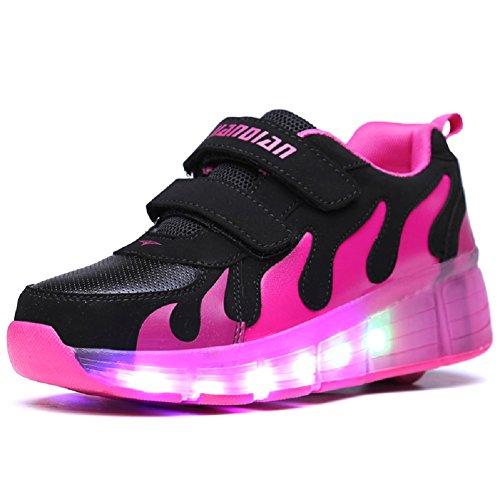 Luckly Grace Kinder Junge Mädchen Led Schuhe Mit Rollen Skateboard Rollschuhe Sport Outdoorschuhe Sneaker (37 EU, Schwarz + rot)