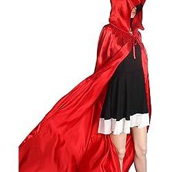 Culater® Escudo Capa con capucha Wicca Robe medieval Fiesta de Halloween del mantón (M, Rojo)