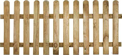 Clôture en bois lames droites demi rondins Stackette - L180cm x H80 cm