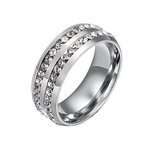 HIJONES Schmuck Damen Edelstahl Doppelte Reihen Rhinestone Ring Größe 66 (21.0) (Silber)