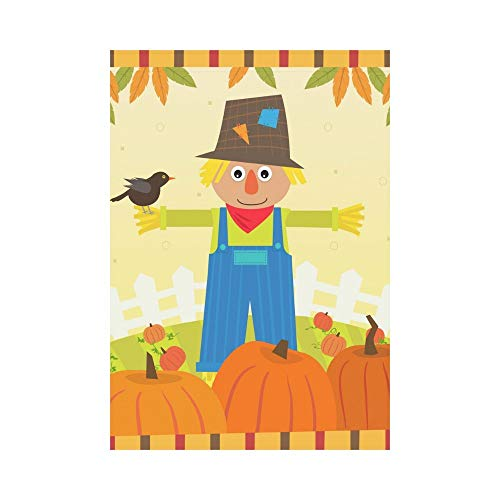Cute Scarecrow with a Bird on His Arm Polyester Garden Flag Outdoor Banner 28 x 40 inch, Autumn Fall Pumpkin Field Decorative Large House Flags for Party Yard Home Decor -
