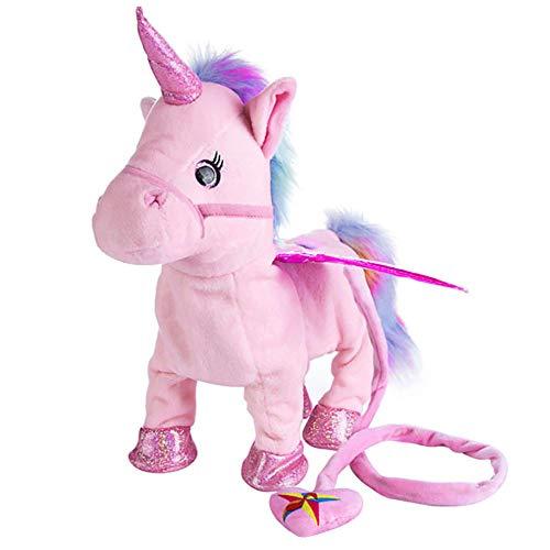 Swonuk Unicornio Juguete Electrónico Felpa Lindo Peluche Pony Juguete electrónico Unicornio Juguete Cantando música Caminando Unicornio Peluche Juguete bebé (Rosa)