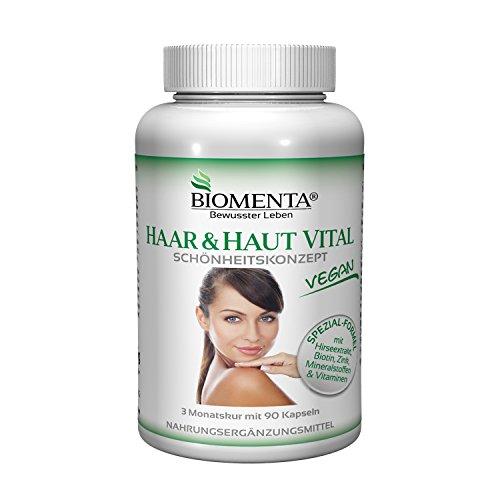 BIOMENTA HAAR & HAUT VITAL | mit siliciumhaltigem Hirse-Extrakt, Biotin, Zink, Selen, L-Cystein, B-Vitaminen, Mineralstoffen | 90 Haar-Haut-Kapseln | VEGAN | 3 Monatskur