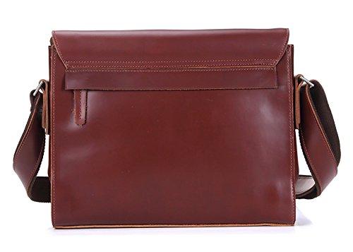 Everdoss hommes en cuir véritable casuel sac de loisirs bandoulière petit sac à bandoulière vintage sac d'affaires Sacs Messenger Rouge