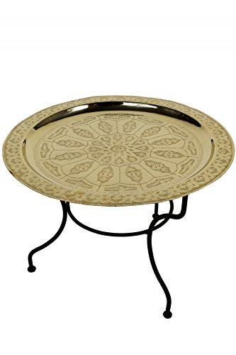 Marrakesch Orient & Mediterran Interior ® Orientalischer marokkanischer Tisch Beistelltisch Couchtisch Teetisch Gibraltar - Goldfarbig, 60cm