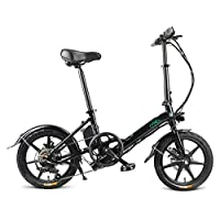 Prom-note FIIDO D3s Folding Electric Bicycle 250W Brushless Toothed Motor,25km/H, 7.8AH 25-50km Mileage 3 Work Modes Folding Disc Brakes Fashion E-bike Moped For Adults Men Women - Black