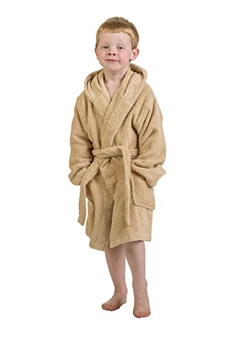 Superior Ägyptische Collection Terry Bademantel mit Kapuze für Kinder, taupe, S/M (Terry Spa Roben Hooded)