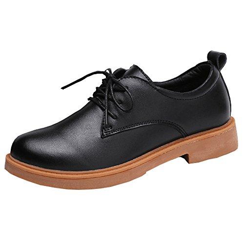 Damen Faux Leder Oxfords Schuhe Schnürer Platform Pumps Blockabsatz Freizeitschuh Mädchen Schwarz 38