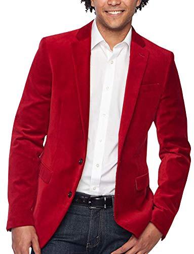 YZHEN Herren Anzug Samt Blazer Jacke Casual Zwei-Knopf-Mantel