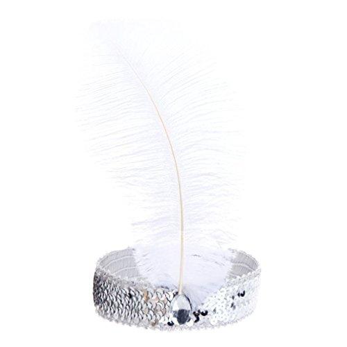 Bodya Stirnband 20's Deluxe weiß schwarz Flapper Pailletten Charleston Kleid Kostüm Haarband Kopfbedeckung