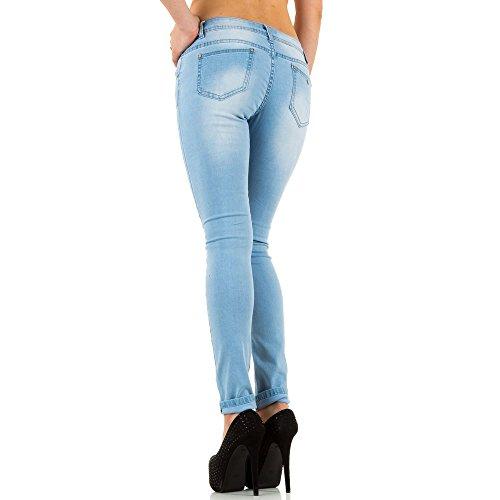 Damen Jeans, USED LOOK HÜFT SKINNY JEANS, KL-J-L2129 Blau