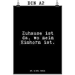 """Mr. & Mrs. Panda Poster DIN A2 mit Spruch """"Zuhause ist da, wo mein Einhorn ist."""" - 100% handmade aus Papier 160 Gramm - Poster, Wandposter, Bild, Wanddeko, Wand, Motiv, Spruch, Kinderzimmer, Einrichtung, Wohnzimmer, Deko, DIN, A2 Einhorn, Zuhause, Wohnung, Home sweet home, Heimat, Unicorn Spruch Sprüche Lustig Spass Geschenk Geschenkidee Zitate"""