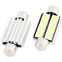 Coche Canbus Tipo fusible Blanco 39MM Placa De Matrícula Luz LED 2 unidades(Paquete de 2)